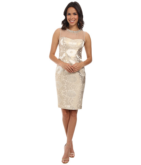 Maggy London - Starry Night Jacquard Sheath Dress w/ Neck Jewels (Ivory/Gold) Women