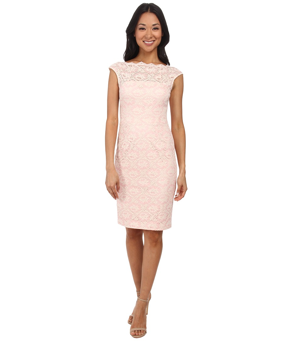 Maggy London - Lattice Rose Lace Sheath Dress w/ Cap Sleeve (2-Tone Pink) Women's Dress