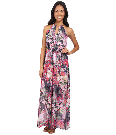 Maggy London - Flower Mix Printed Chiffon Maxi Dress (Soft White/Magenta) Women's Dress