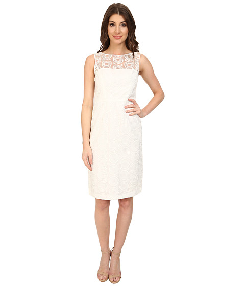 Maggy London - Circle Dot Organza Sheath Dress w/ Exposed Back (White) Women