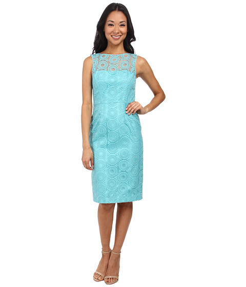 Maggy London - Circle Dot Organza Sheath Dress w/ Exposed Back (Scuba Blue) Women