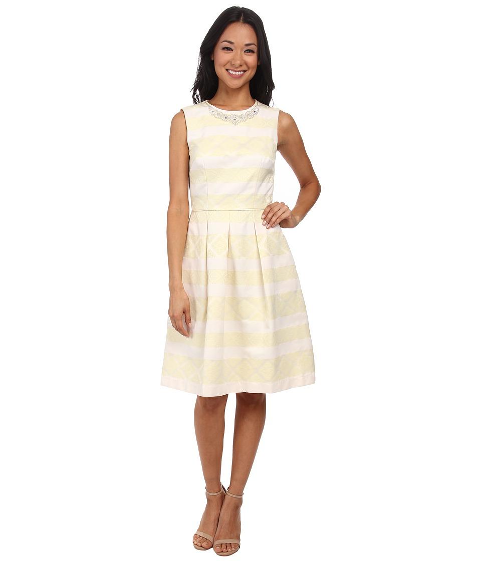 Maggy London - Jacquard Faille Stripe Fit Flare Dress w/ Pearl Detail (Yellow/Tan) Women