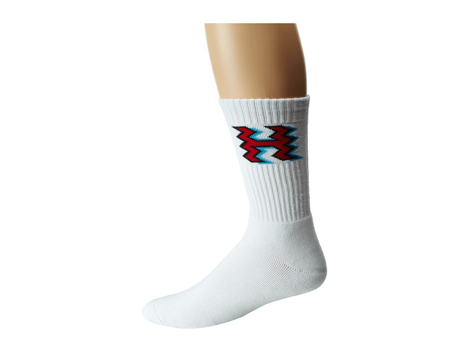 HUF - Crooked H Crew Sock (White) Crew Cut Socks Shoes