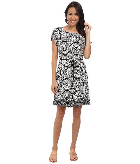 Hatley - Flutter Sleeve Dress (Black/Ivory Mosaic) Women