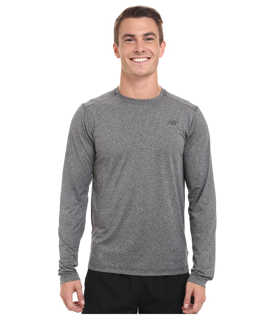 New Balance - Long Sleeve Heather Tech Tee (Black Heather) Men's Long Sleeve Pullover