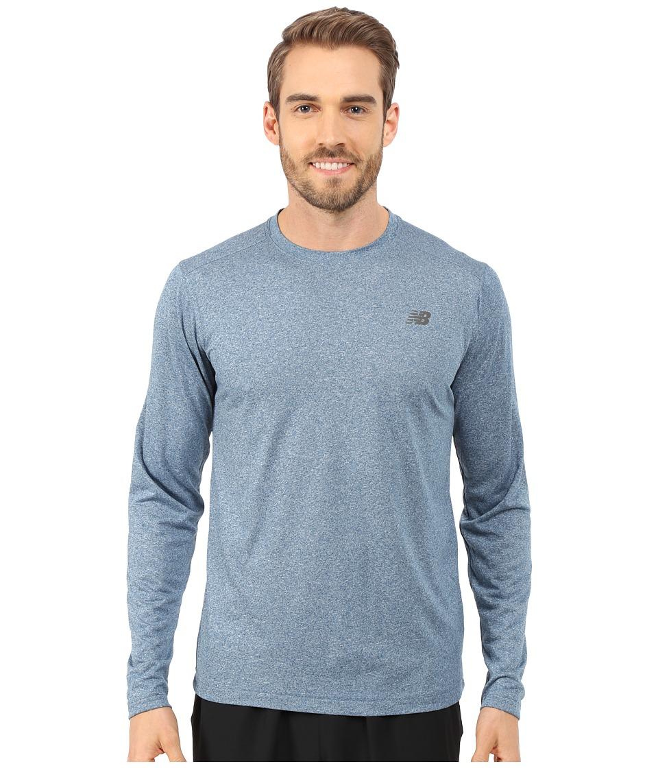 New Balance - Long Sleeve Heather Tech Tee (Deep Water) Men's Long Sleeve Pullover