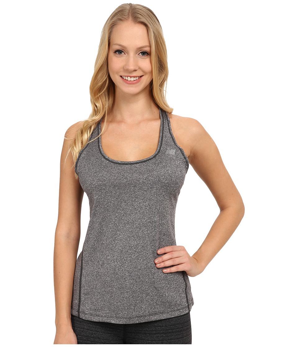 New Balance - Heathered Jersey Tank Top (Black Heather) Women's Sleeveless