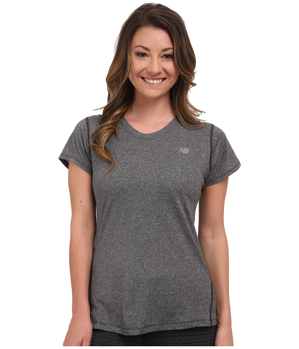 New Balance Heathered Short Sleeve Tee (Black Heather) Women