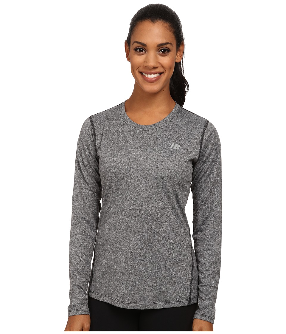 New Balance - Heathered Long Sleeve Tee (Black Heather) Women's Long Sleeve Pullover