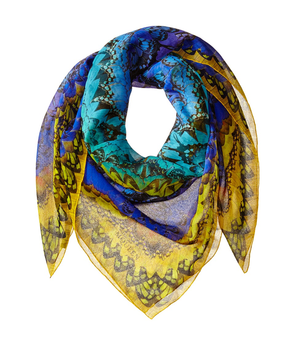 Alexander McQueen - Rainbow Wings Scarf (Sapphire/Yellow) Scarves