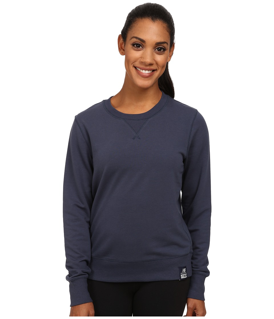 New Balance - French Terry Crew Neck Sweatshirt (Navy) Women's Sweatshirt