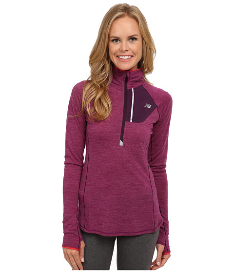 New Balance - Performance Merino 1/2 Zip Top (Imperial Purple Heather/Cerise) Women