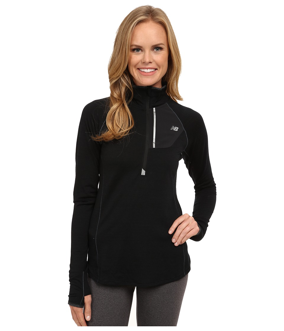 New Balance - Performance Merino 1/2 Zip Top (Black) Women's Long Sleeve Pullover