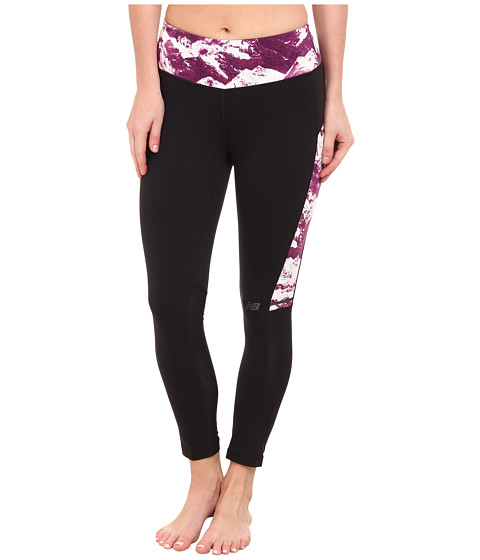New Balance - Premium Performance Fashion Crop Bottom (Black/Imperial Purple Print) Women