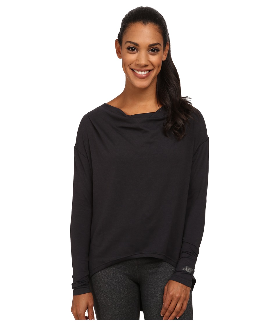 New Balance - Draped Layer Long Sleeve Top (Black) Women's Long Sleeve Pullover