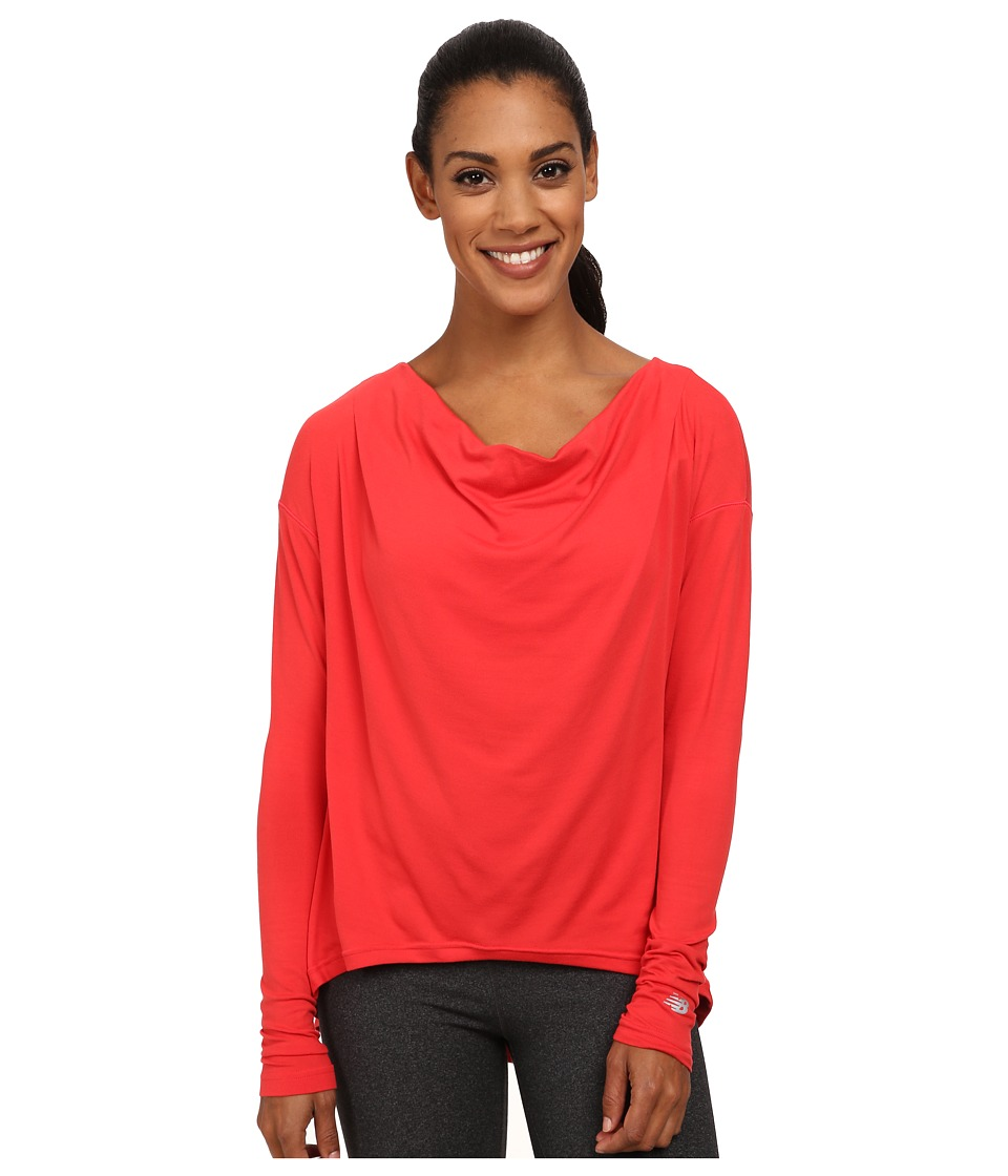 New Balance - Draped Layer Long Sleeve Top (Cerise) Women's Long Sleeve Pullover