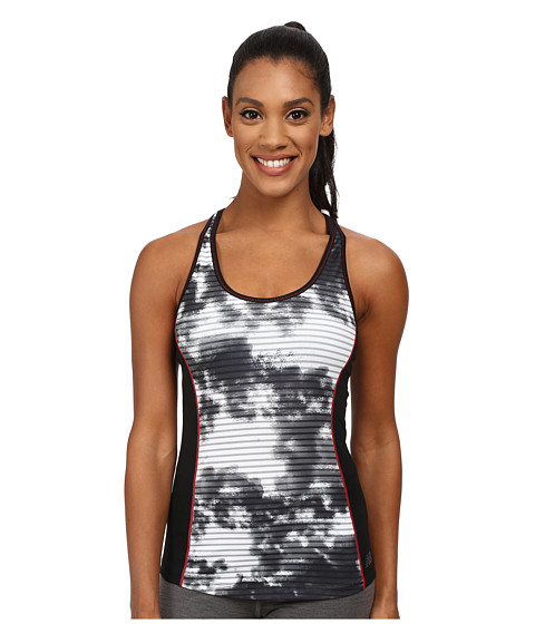 New Balance - Get Back Racerback (White/Black Print) Women's Sleeveless