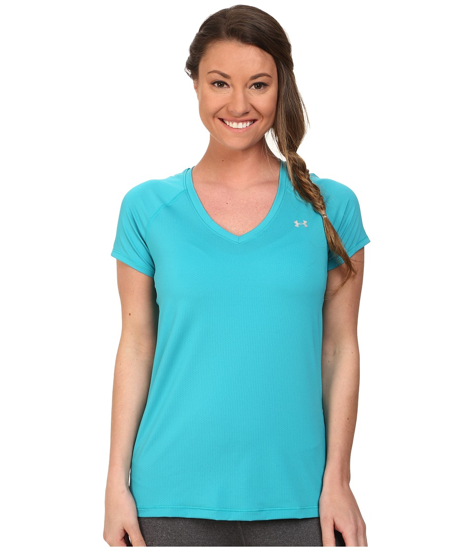 Under Armour UA HeatGear(r) Armour Mesh V-Neck (Pacific) Women