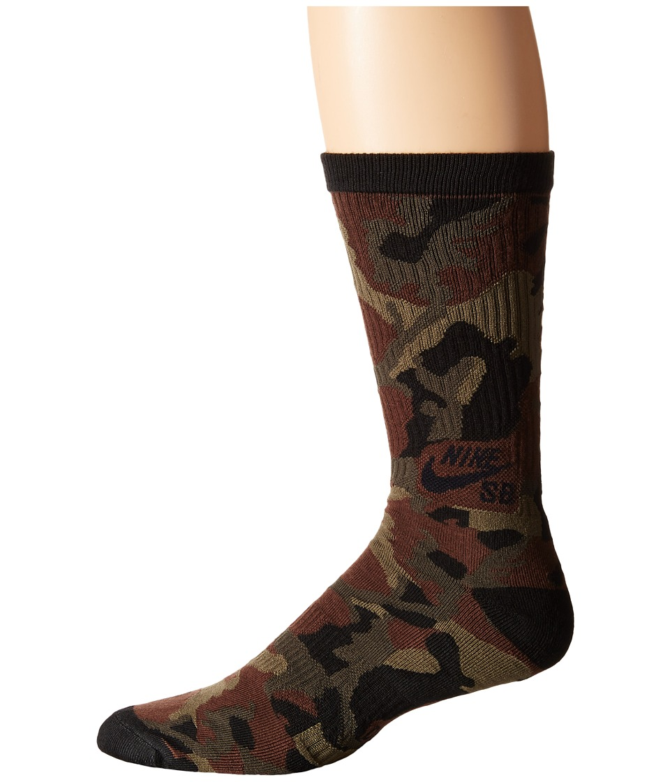 Nike SB - Camo Crew Sock (Baroque Brown/Black/Black) Men's Crew Cut Socks Shoes