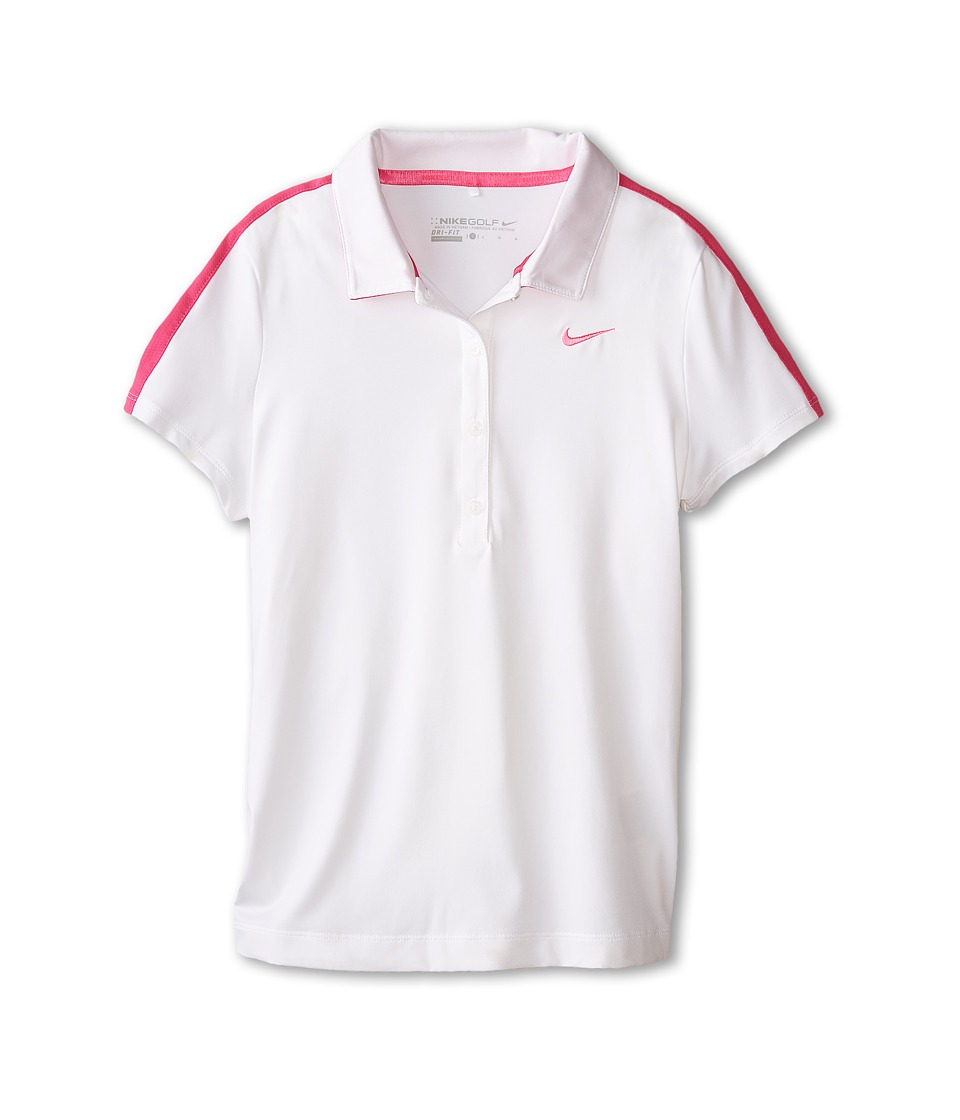 Nike Kids - Swoosh Mesh Polo (Little Kids/Big Kids) (White/Hot Pink/Pink Pow) Girl