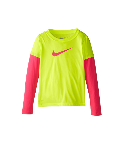 Nike Kids - 2-fer Legend Top (Little Kids) (Volt/Hyper Pink) Girl's Long Sleeve Pullover