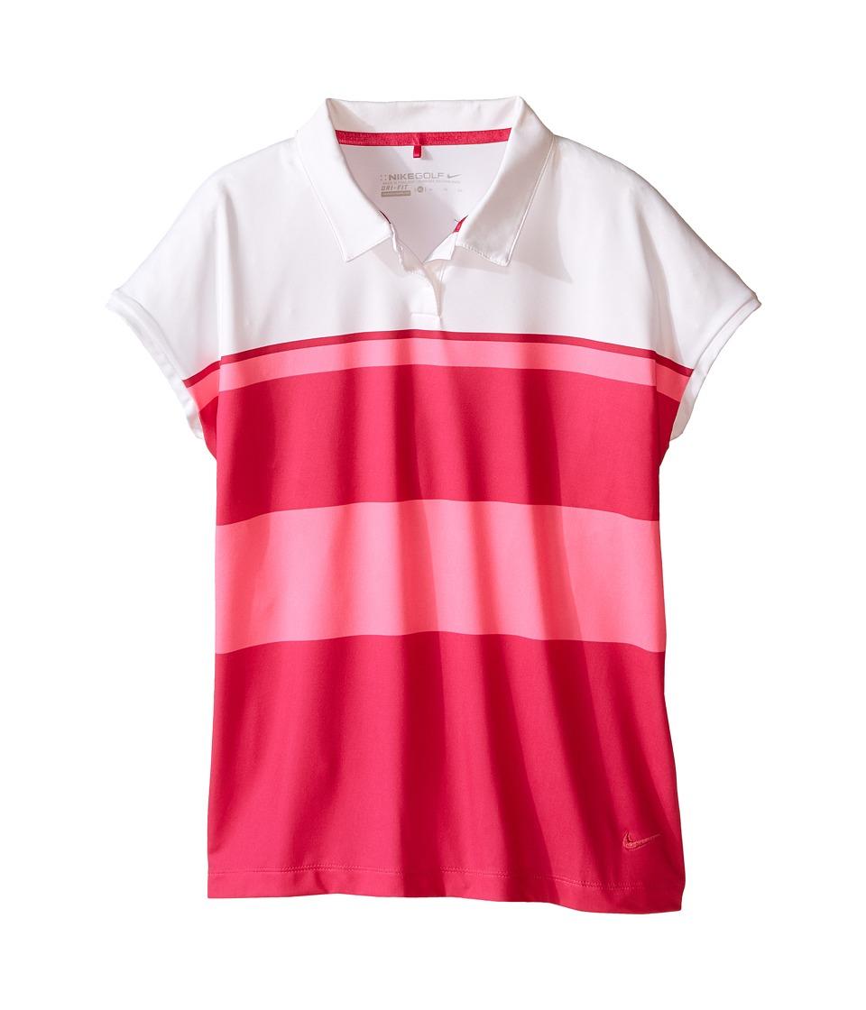 Nike Kids - Stripe Polo (Little Kids/Big Kids) (Pink Pow/Fireberry/Fireberry) Girl's Sleeveless
