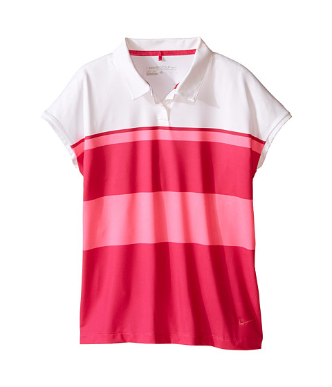 Nike Kids - Stripe Polo (Little Kids/Big Kids) (Pink Pow/Fireberry/Fireberry) Girl