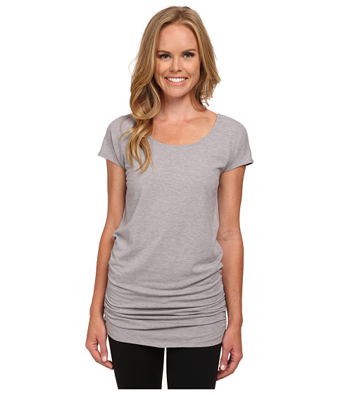 Lucy - Yoga Girl Tunic Top (Silver Filigree Heather) Women's Workout