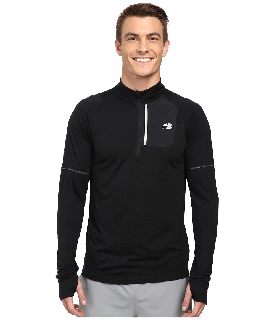 New Balance - Performance Merino Half Zip (Black) Men's Long Sleeve Pullover