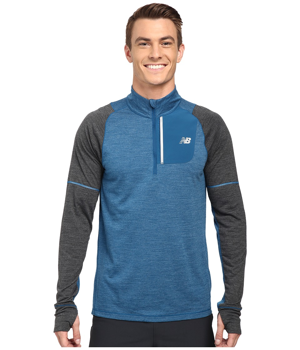 New Balance - Performance Merino Half Zip (Deep Water Heather/Multi/Heather Charcoal) Men's Long Sleeve Pullover
