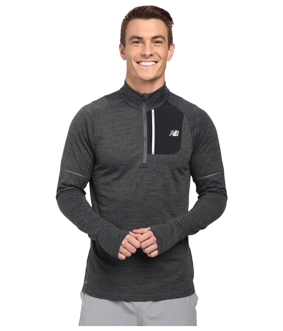 New Balance - Performance Merino Half Zip (Heather Charcoal/Black) Men's Long Sleeve Pullover