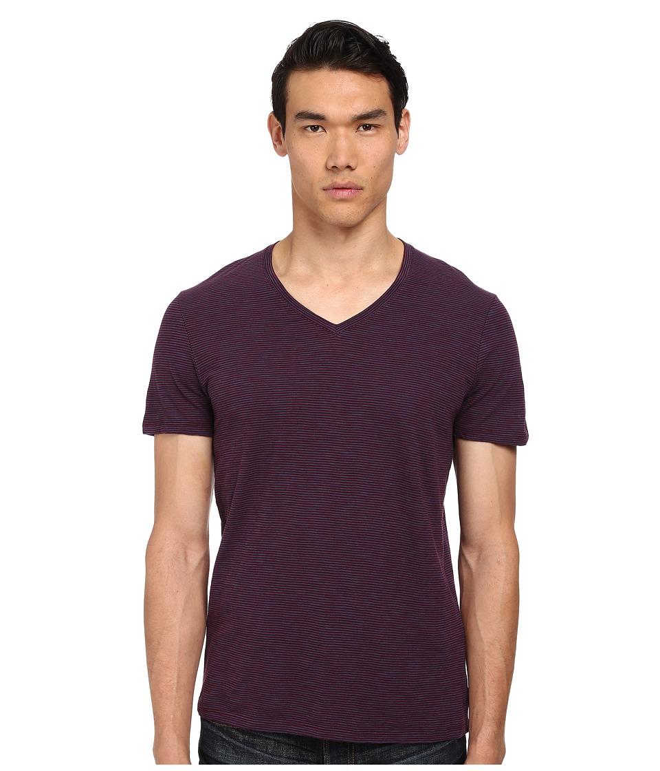 Vince - V-Neck Tee (Port/Indigo) Men's Short Sleeve Pullover