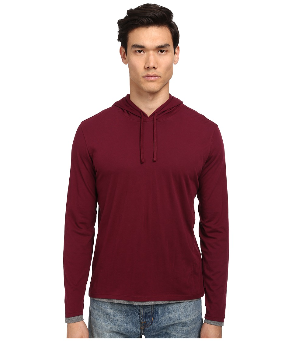 Vince - Double Layer Hoodie (Port/Heather Cinder) Men's Long Sleeve Pullover