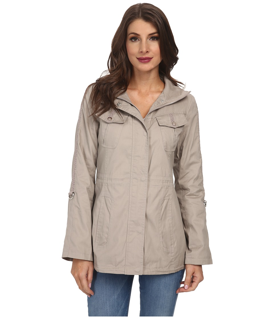 Jessica Simpson - Cotton Canvas Anorak with Crochet Detail (Smoke) Women