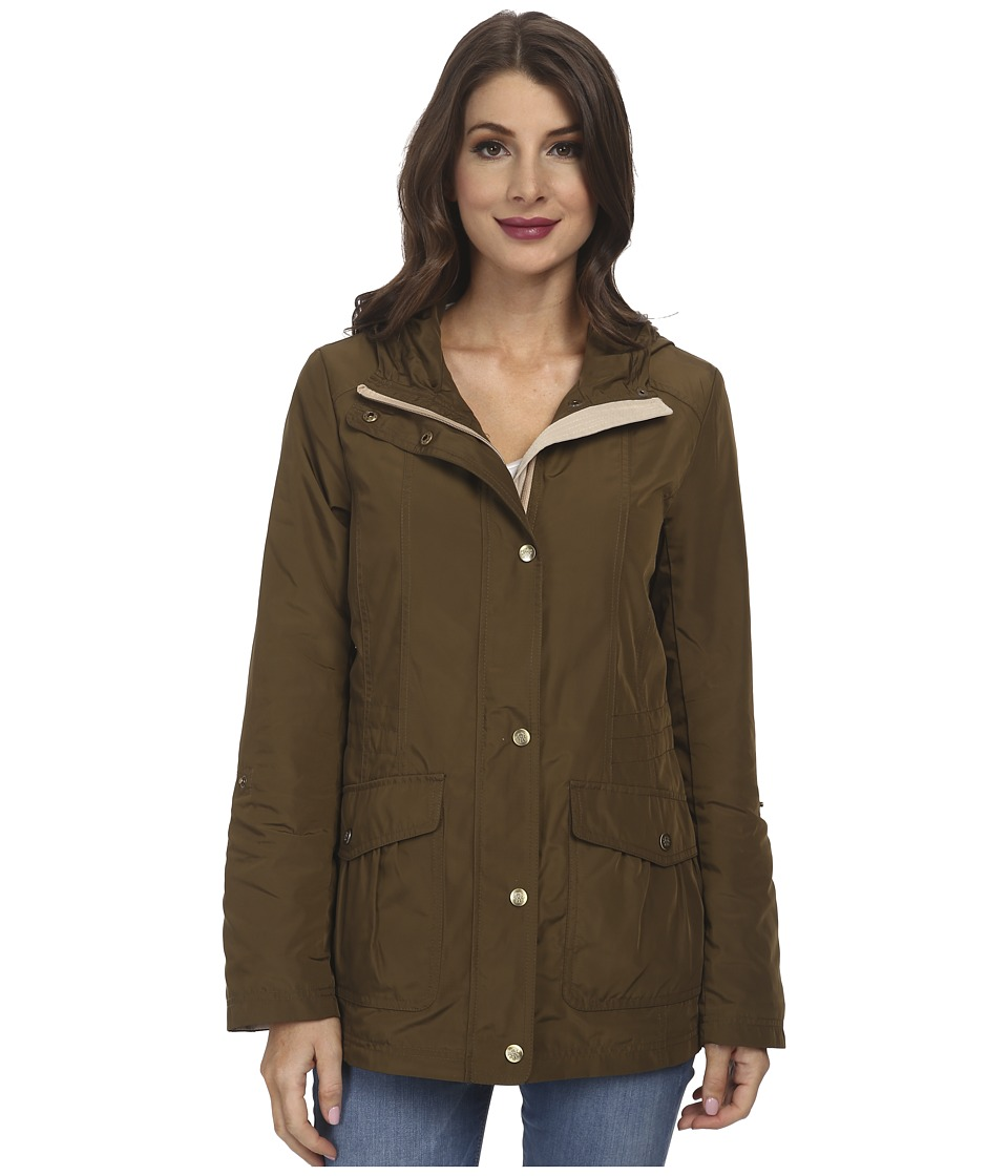 Jessica Simpson - Snap Front Anorak with Contrast Lining (Olive/Khaki) Women