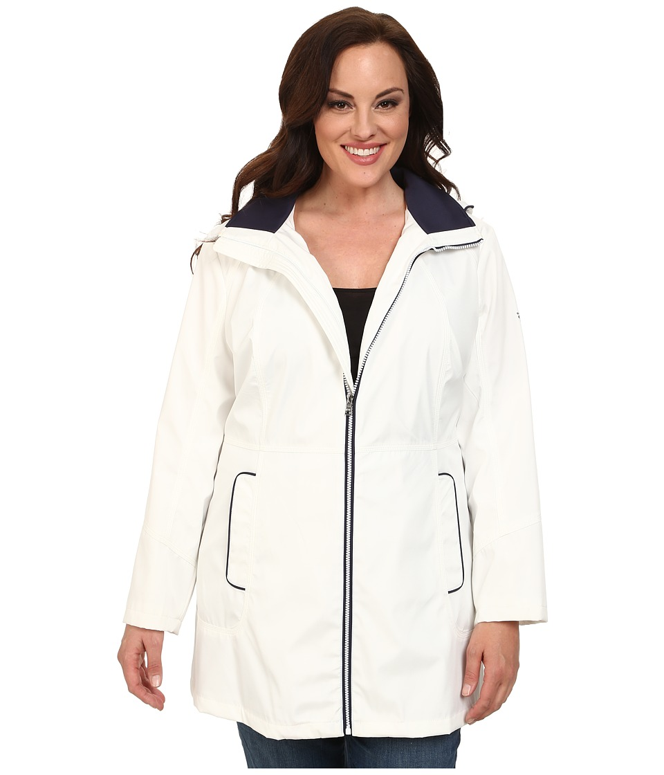 Jessica Simpson - Plus Size Centerfront Zip Polybonded with Contrast Piping (White) Women