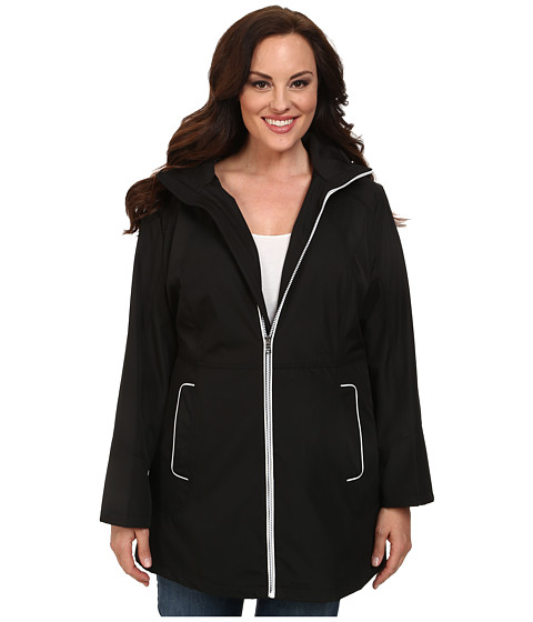 Jessica Simpson - Plus Size Centerfront Zip Polybonded with Contrast Piping (Black) Women
