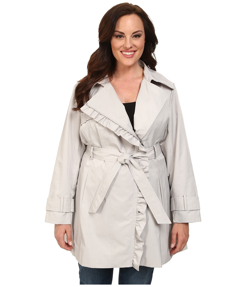 Jessica Simpson - Plus Size Asymmetrical Zip Ruffle Front Trench (Silver) Women's Coat