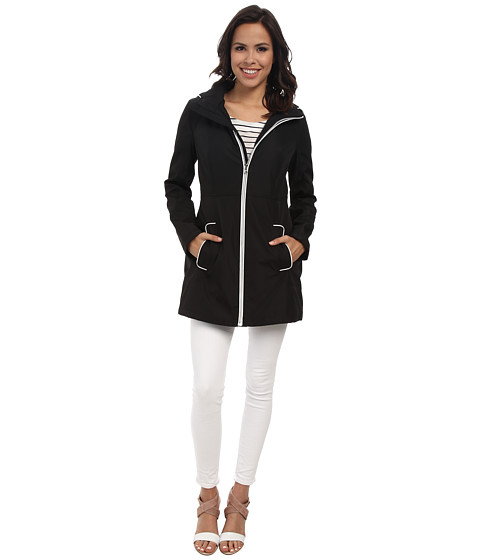 Jessica Simpson - Centerfront Zip Polybonded with Contrast Piping (Black) Women's Coat