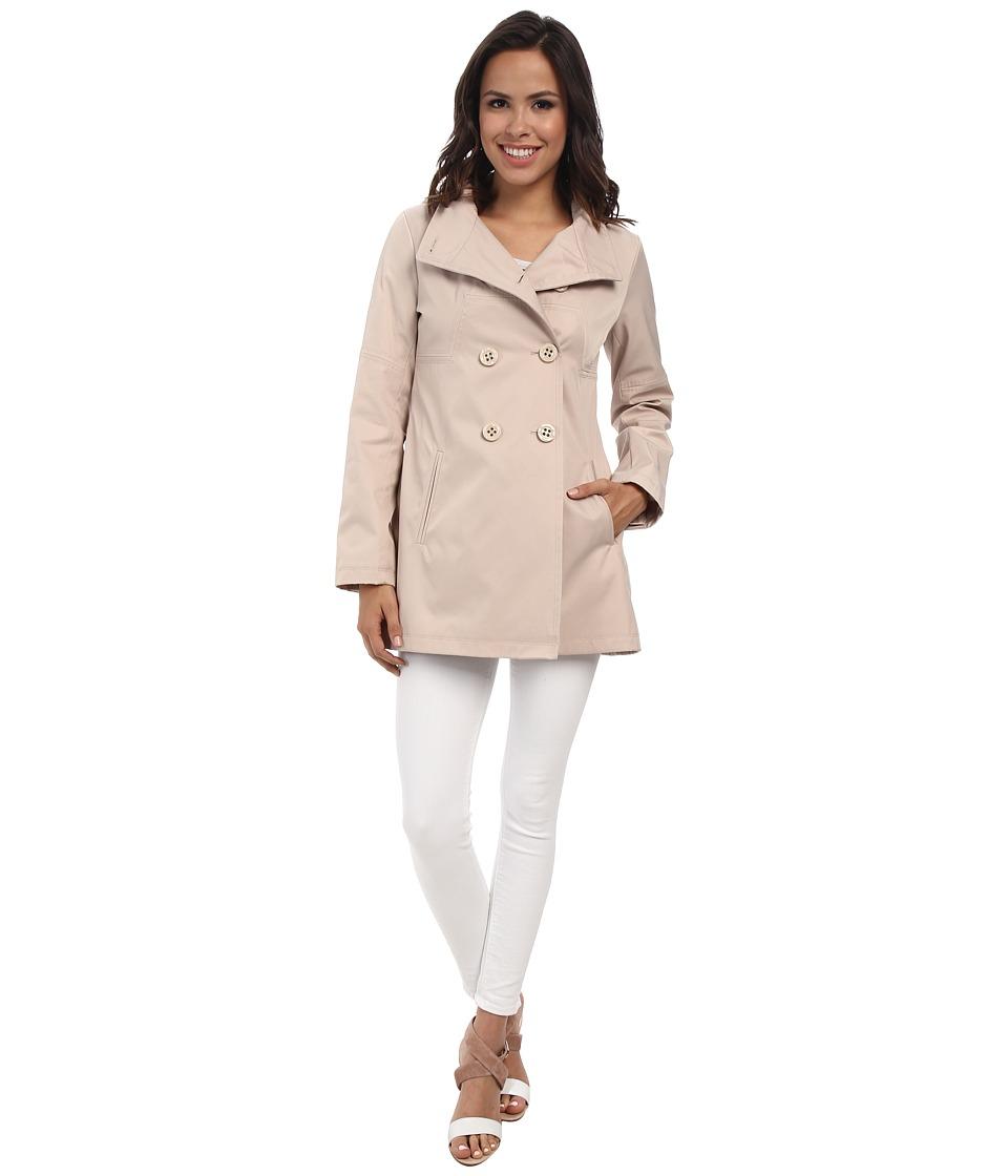 Jessica Simpson - Bonded Cotton Rain with Seam Detail (Stone) Women's Coat