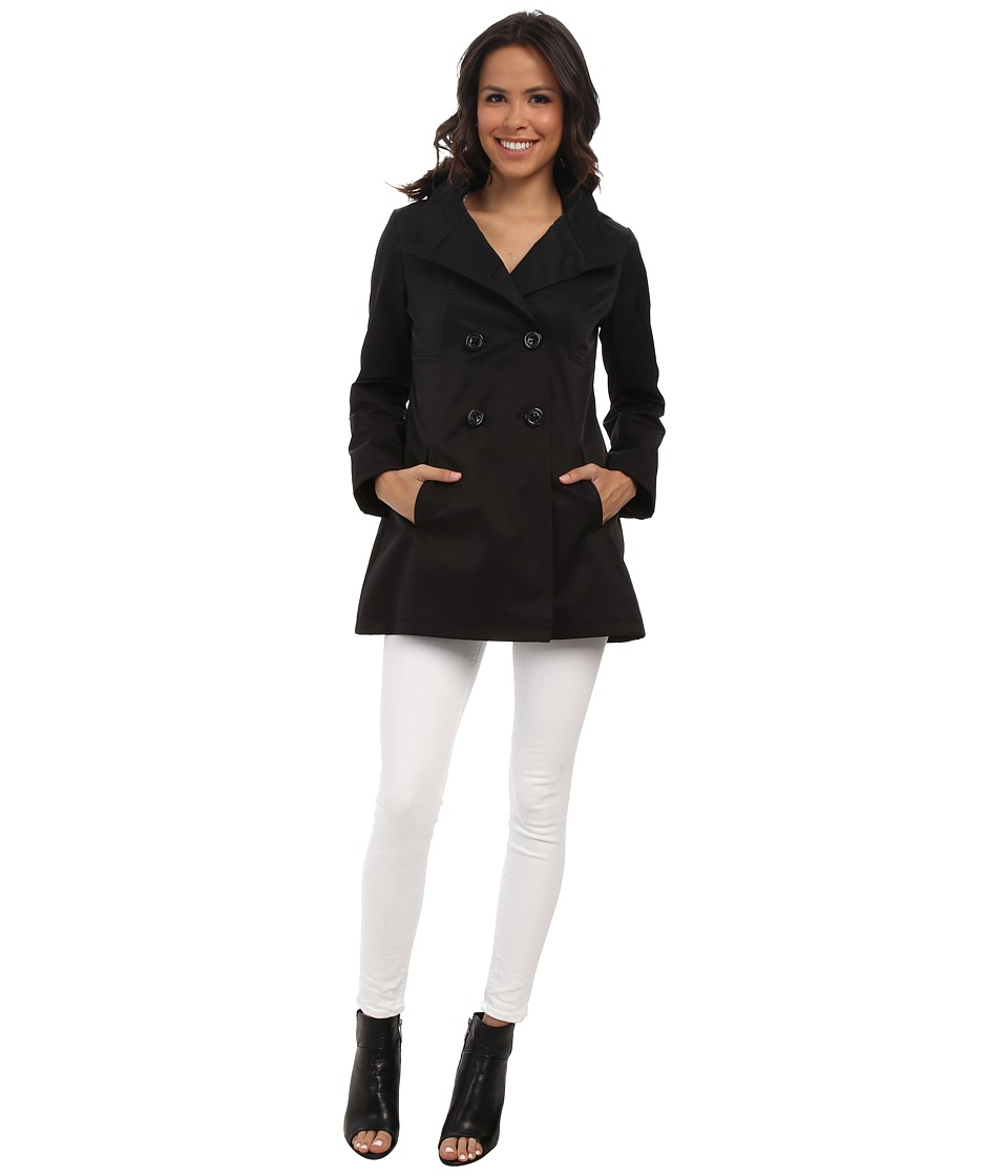 Jessica Simpson - Bonded Cotton Rain with Seam Detail (Black) Women's Coat