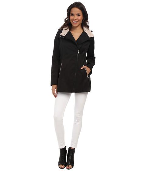 Jessica Simpson - Asymmetrical Bonded Rain with Double Collar (Black) Women