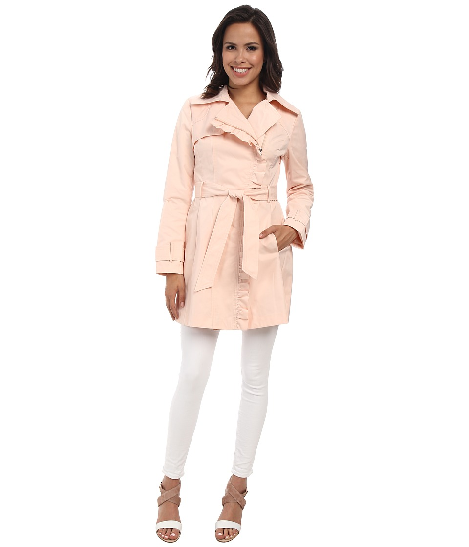 Jessica Simpson - Asymmetrical Zip Ruffle Front Trench (Blush) Women's Coat