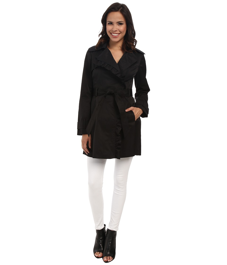 Jessica Simpson - Asymmetrical Zip Ruffle Front Trench (Black) Women