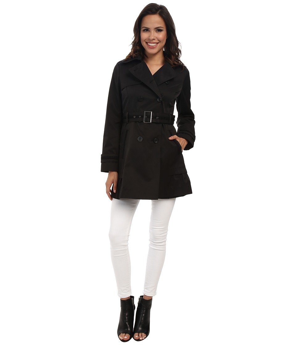 Jessica Simpson - Doublebreasted Trench with Crochet Detail (Black) Women's Coat