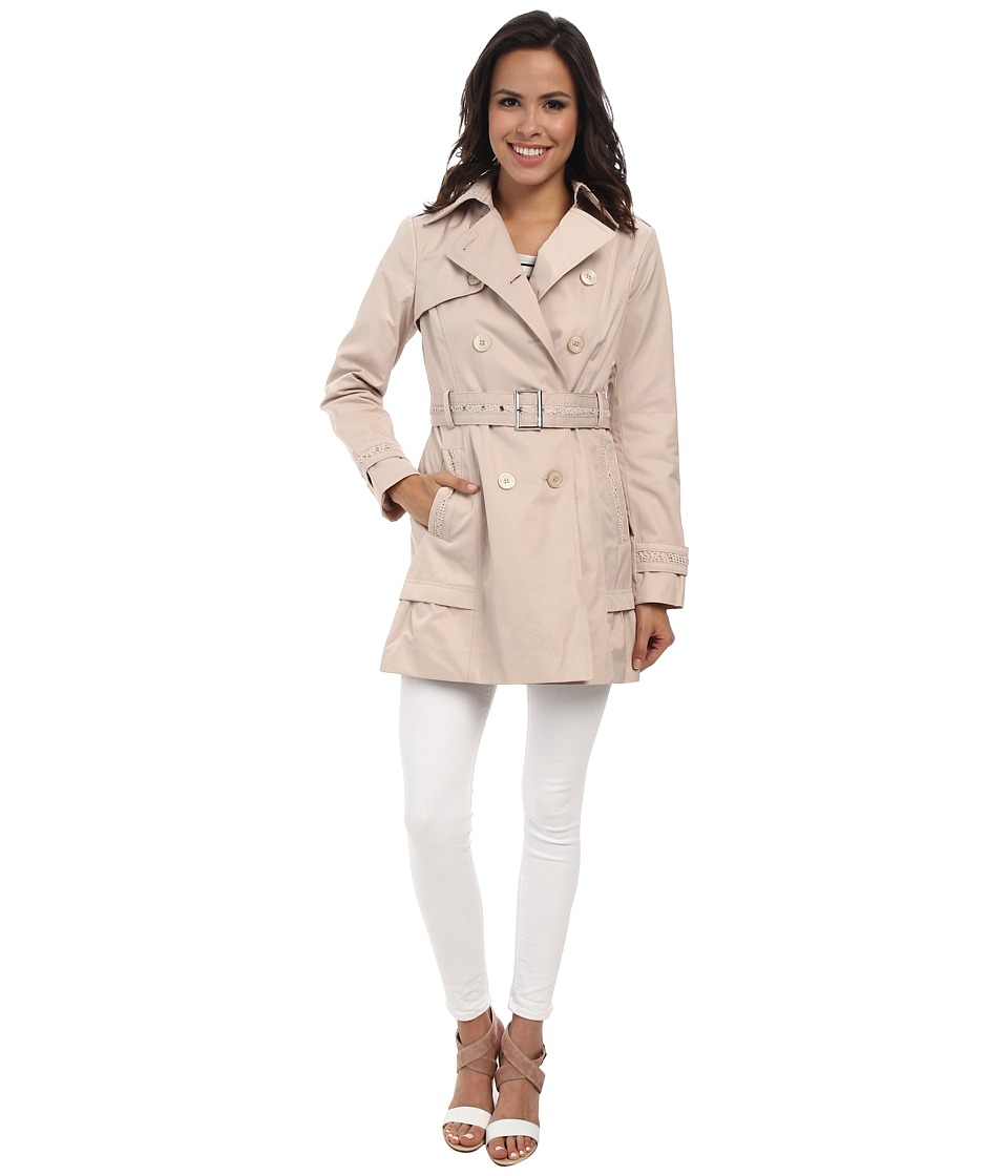 Jessica Simpson - Doublebreasted Trench with Crochet Detail (Stone) Women