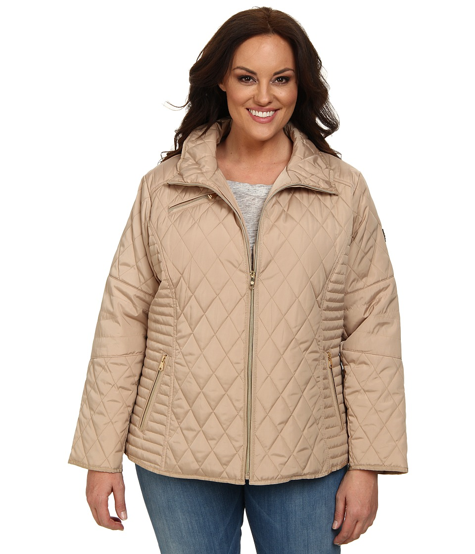 Jessica Simpson - Plus Size Single Breasted Quilt with Floral Lining (Champagne) Women's Coat