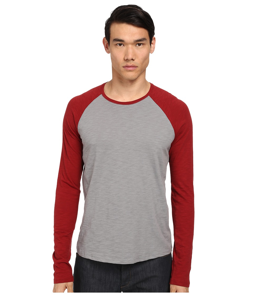 Vince - Baseball Tee (Smoke/Saffron) Men's Long Sleeve Pullover