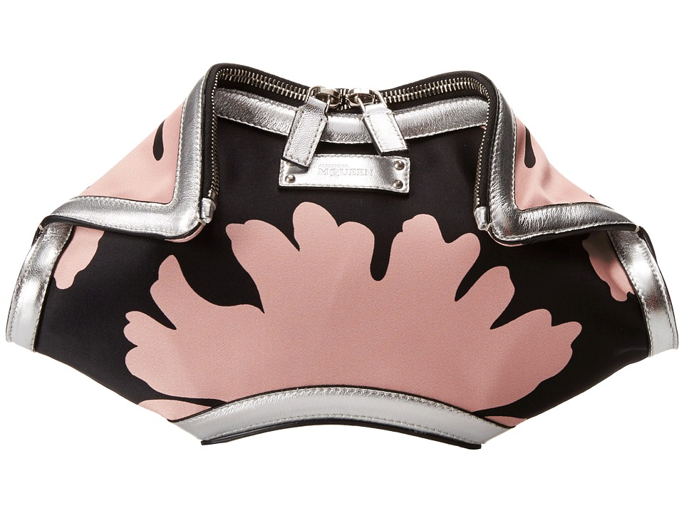 Alexander McQueen - De Manta Small Clutch (Black/Geisha Pink/Silver) Clutch Handbags
