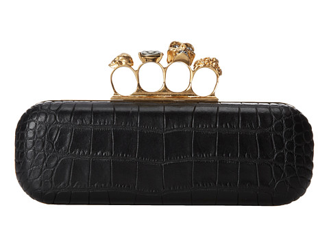 Alexander McQueen - Knuckle Box Clutch (Black 1) Clutch Handbags